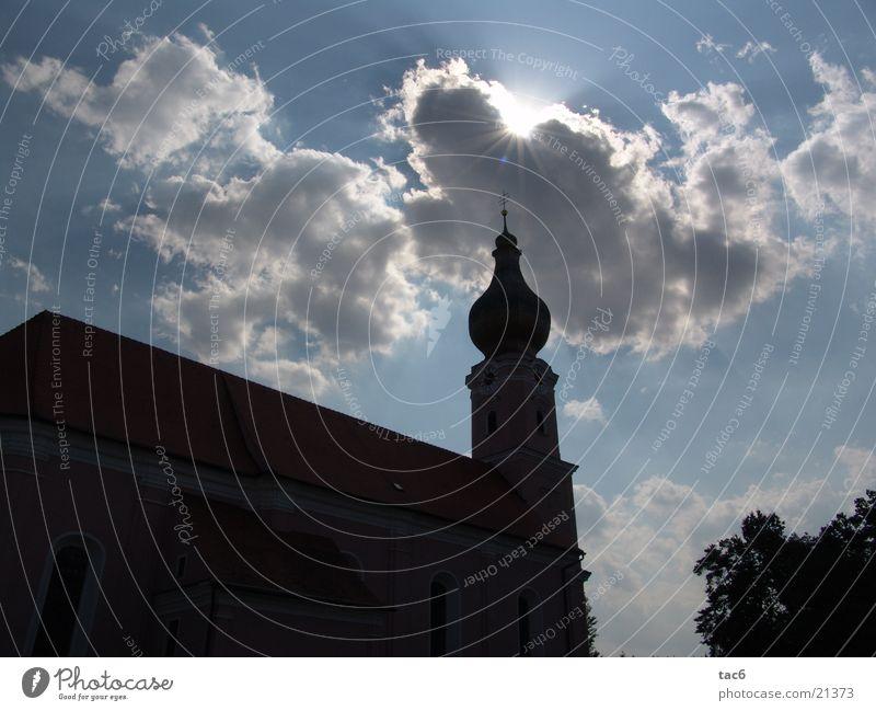 Kirchen Konturen Silhouette Wolken Architektur Religion & Glaube Himmel Sonne Schatten Turm