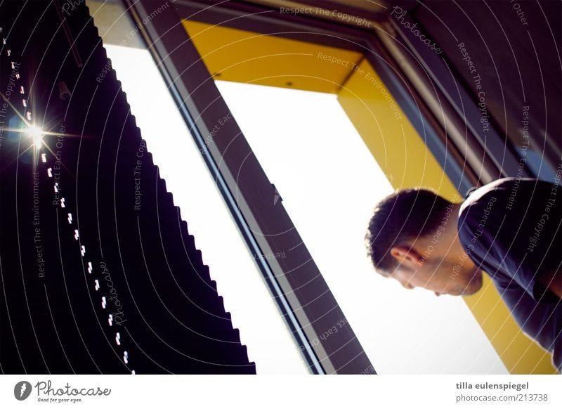 Was guckst du...? Mensch Mann gelb Fenster Beleuchtung Erwachsene Wohnung maskulin offen Häusliches Leben beobachten Neugier entdecken Interesse Jalousie Lamellenjalousie