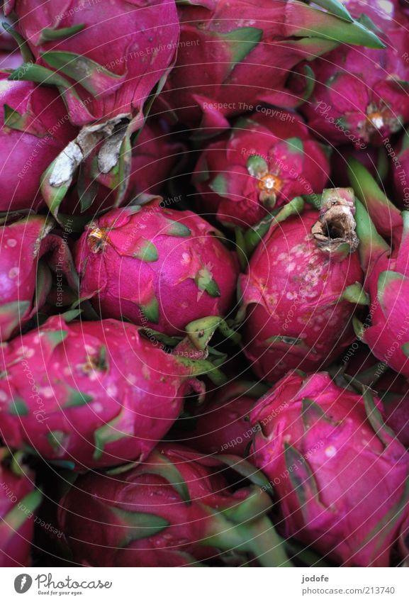 Pitahaya rosa Lebensmittel Frucht mehrere violett viele exotisch mehrfarbig Ernährung knallig Drachenfrucht