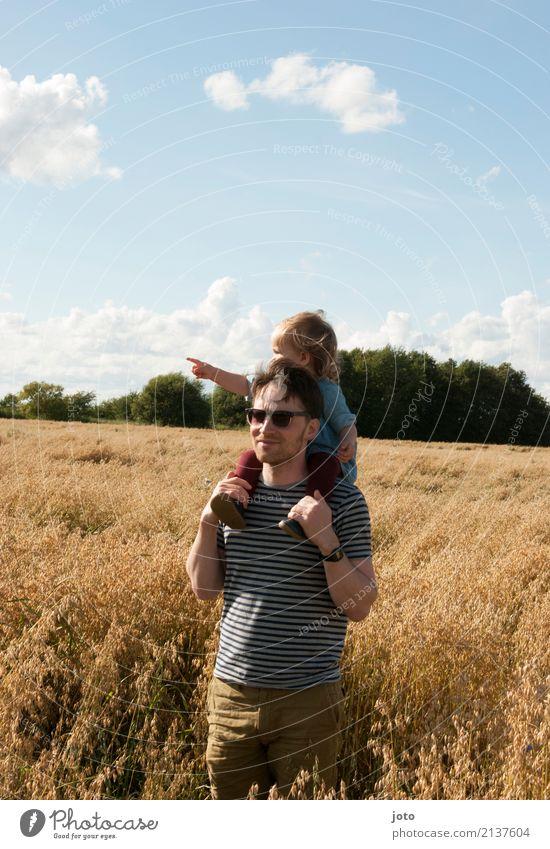Papazeit Kind Natur Ferien & Urlaub & Reisen Mann Sommer Ferne Erwachsene Umwelt Familie & Verwandtschaft Freiheit Ausflug Zufriedenheit Feld Kindheit Idylle