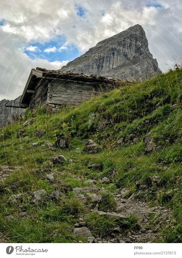 Aufstieg wandern Umwelt Natur Landschaft Pflanze Wolken Sommer Gras Wiese Felsen Alpen Berge u. Gebirge Watzmann Gipfel Hütte atmen Erholung genießen alt