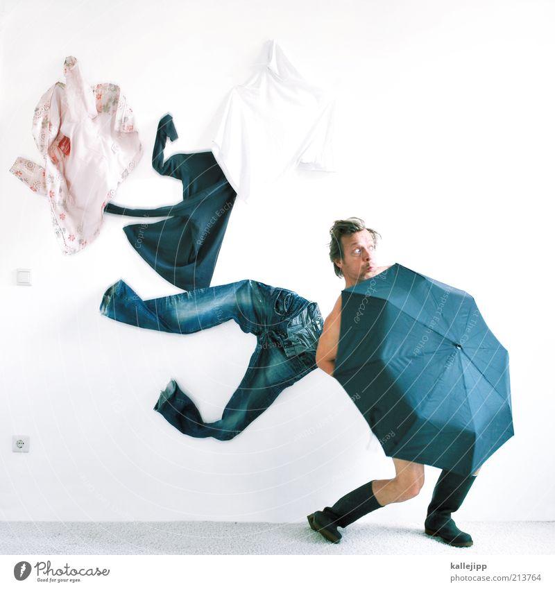 kachelmann Mensch Mann Erwachsene Umwelt Mode Wind Schirm maskulin Lifestyle Sicherheit Bekleidung T-Shirt Jeanshose Schutz Regenschirm Jacke