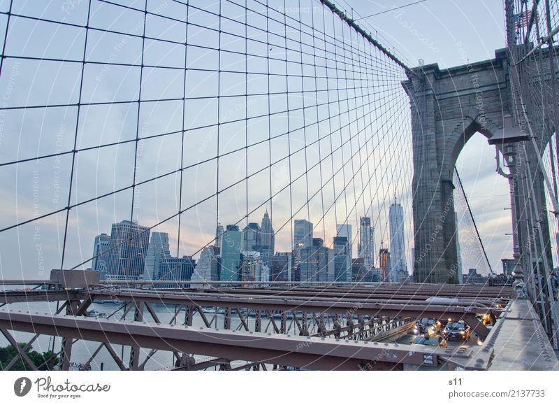 Brooklyn Bridge New York City Stadt Hauptstadt Hafenstadt Skyline Menschenleer Haus Hochhaus Brücke Tor Gebäude Architektur Mauer Wand Sehenswürdigkeit