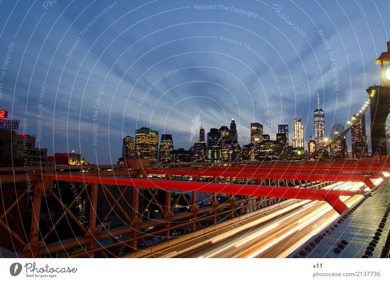 New York Skyline Himmel blau Stadt rot Haus Wolken Fenster Architektur Beleuchtung Gebäude leuchten PKW Hochhaus Brücke Sehenswürdigkeit