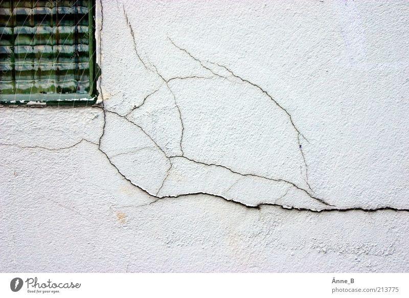 Der Putz bröckelt Haus Handwerk Baustelle Menschenleer Einfamilienhaus Ruine Gebäude Fassade Fenster Stein Beton Glas alt dehydrieren Häusliches Leben Armut