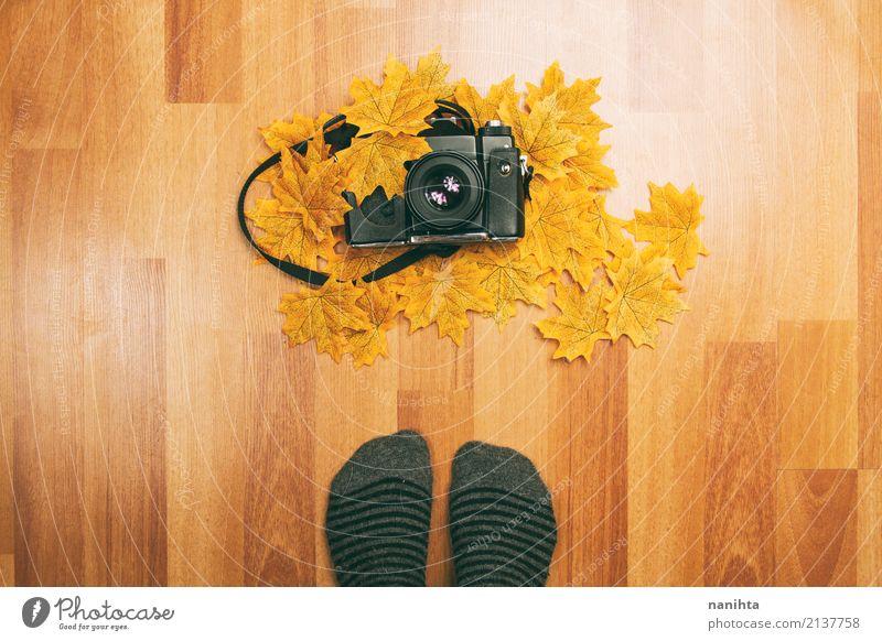 Füße vor einer analogen Kamera und Herbstlaub Mensch Jugendliche alt Blatt 18-30 Jahre schwarz Erwachsene Lifestyle Holz Kunst Fuß braun orange Freizeit & Hobby