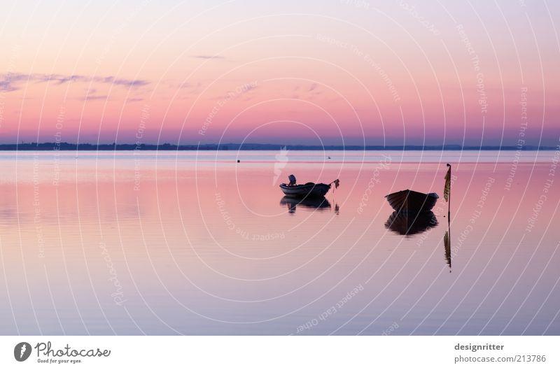 Zweisamkeit Wasser Ferien & Urlaub & Reisen Meer ruhig Ferne Freiheit Küste Wetter Klima Frieden Unendlichkeit Bucht Ostsee Schönes Wetter Windstille Wasserfahrzeug