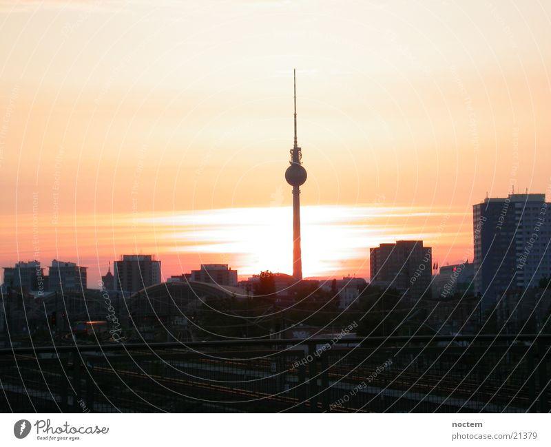 Berlin Sonnenuntergang Stadt Berlin Sonnenuntergang Europa Berliner Fernsehturm Kreuzberg
