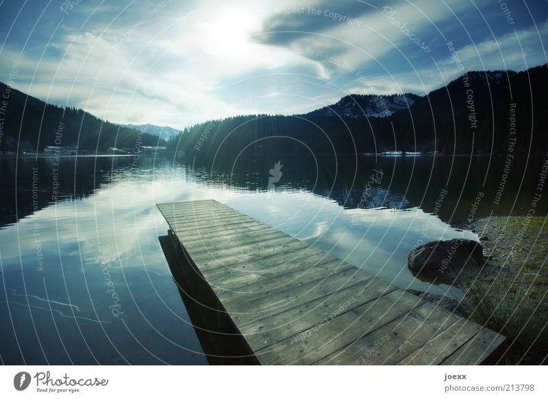 Erfrischung Natur Wasser Himmel Sonne Sommer ruhig Wald Wege & Pfade See Idylle Steg Seeufer Schönes Wetter Gegenlicht friedlich Starke Tiefenschärfe