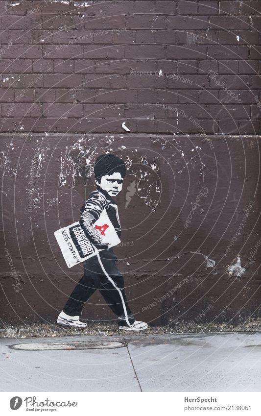 Anarchy Boy Stadt Haus Bauwerk Gebäude Mauer Wand Schriftzeichen Graffiti Coolness rebellisch trashig braun weiß Anarchie Papier kleben Backsteinwand