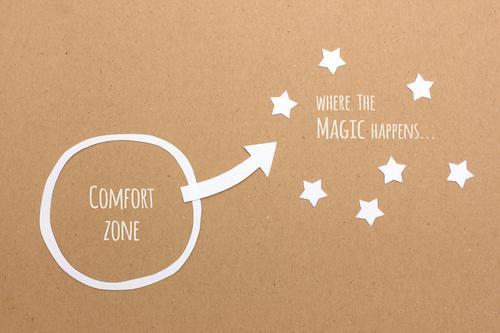 Raus aus der Komfortzone Freude braun Wachstum ästhetisch Kraft Erfolg lernen einfach Stern (Symbol) Wandel & Veränderung Neugier Risiko Mut Inspiration