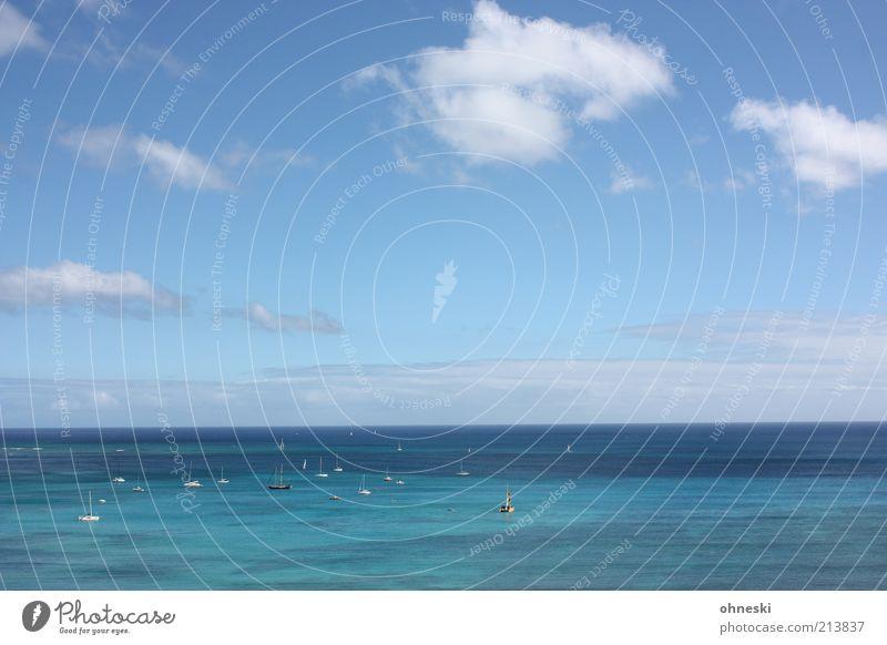 Sommer Wasser Himmel Meer blau Sommer Ferien & Urlaub & Reisen Ferne Freiheit Wasserfahrzeug Horizont Tourismus Unendlichkeit Schifffahrt Schönes Wetter Segelboot Sommerurlaub