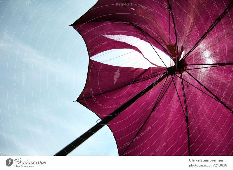 Fadenscheinig Schirm stockschirm alt fadenscheinig kaputt Loch violett Sonnenschirm durchlässig Stoff Gestell Metall altmodisch Durchblick Riss Zerstörung