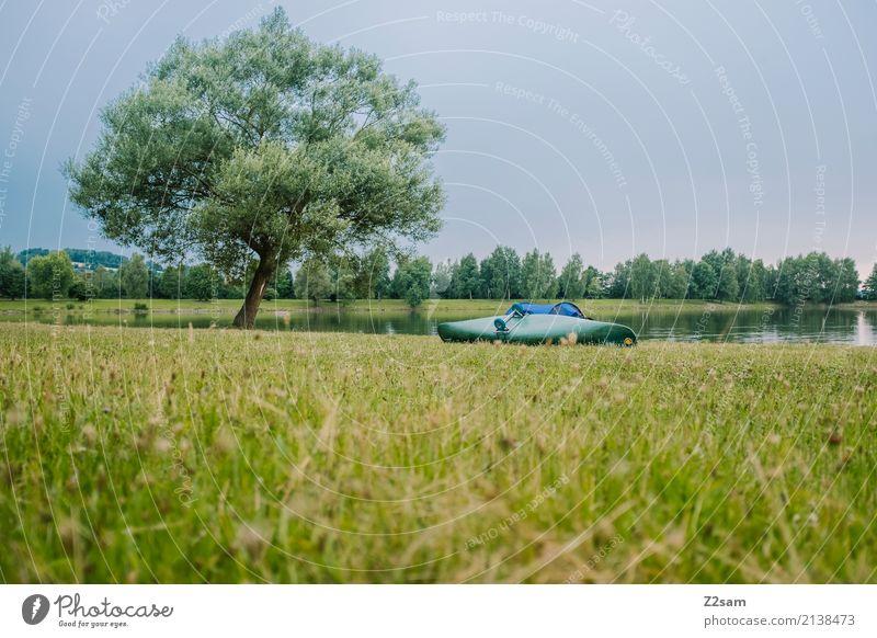 pause Ferien & Urlaub & Reisen Abenteuer Camping Sommerurlaub Kanutour Natur Landschaft Himmel Baum Wiese Seeufer Fluss nachhaltig natürlich grün Gelassenheit