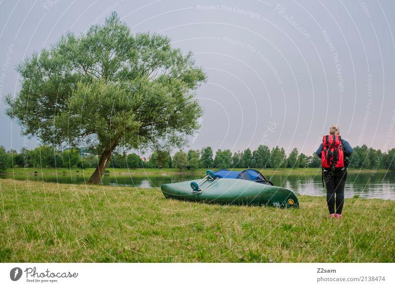 Schlafplatz gefunden Natur Ferien & Urlaub & Reisen Jugendliche Junge Frau Sommer grün Baum Landschaft Erholung ruhig 18-30 Jahre Erwachsene Wiese natürlich