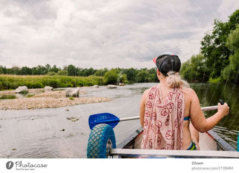 Da bleiben wir Natur Ferien & Urlaub & Reisen Jugendliche Junge Frau Sommer Landschaft ruhig 18-30 Jahre Erwachsene Freiheit Ausflug Freizeit & Hobby blond