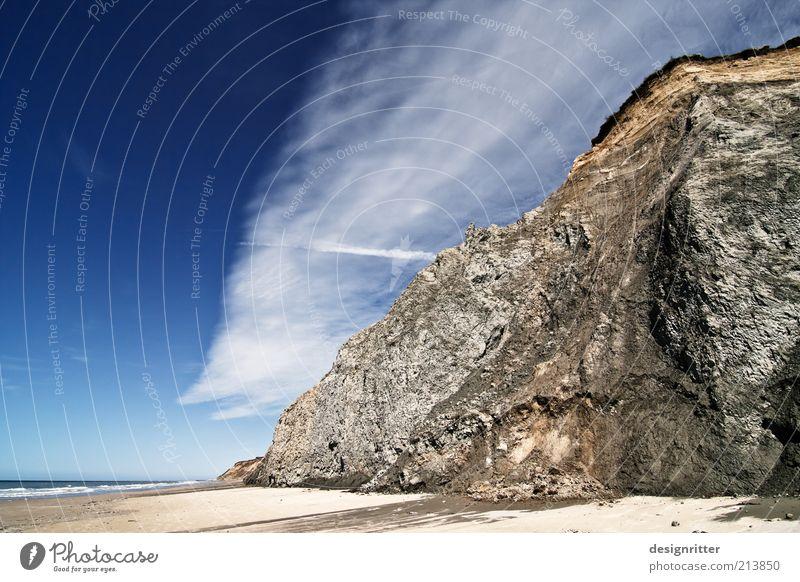 Spiegelbild Ferien & Urlaub & Reisen Tourismus Ferne Freiheit Himmel Wolken Sommer Schönes Wetter Küste Nordsee Meer Klippe Sand gigantisch groß hoch ruhig