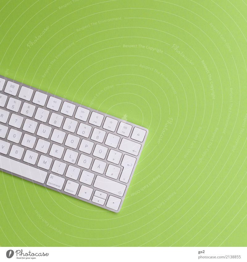 Tastatur auf Grün grün weiß sprechen Business Schule Design Arbeit & Erwerbstätigkeit Büro Schriftzeichen Kommunizieren Technik & Technologie Computer Zukunft