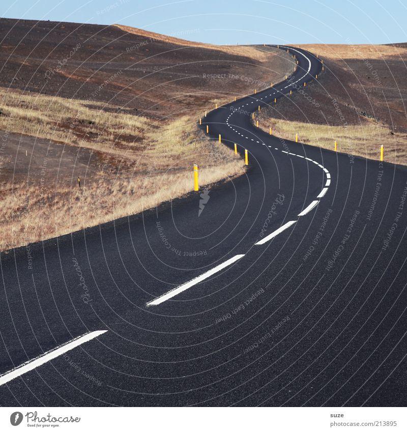 Dieses ewige hin und her Verkehr Verkehrswege Straßenverkehr Wege & Pfade Linie authentisch außergewöhnlich fantastisch braun schwarz Ziel Verlauf Asphalt Kurve
