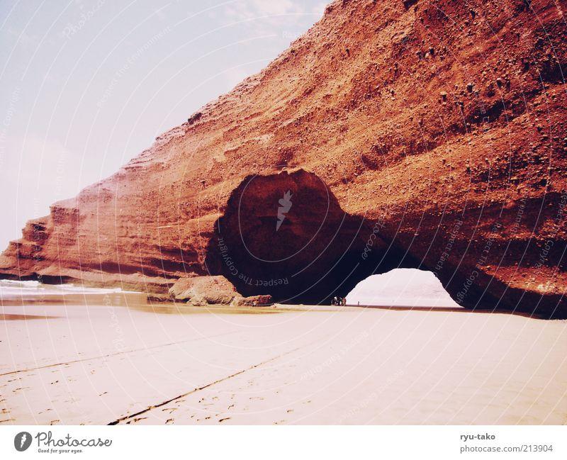 Legzira, Marokko Mensch schön Himmel Meer rot Sommer Strand schwarz Wolken Einsamkeit gelb Wärme Sand Landschaft Stimmung braun