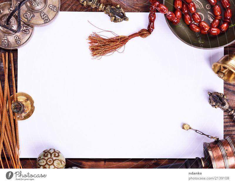 religiöse Musikinstrumente Behandlung Alternativmedizin harmonisch Erholung Meditation Tisch Yoga Papier Holz alt natürlich braun weiß Gesundheitswesen