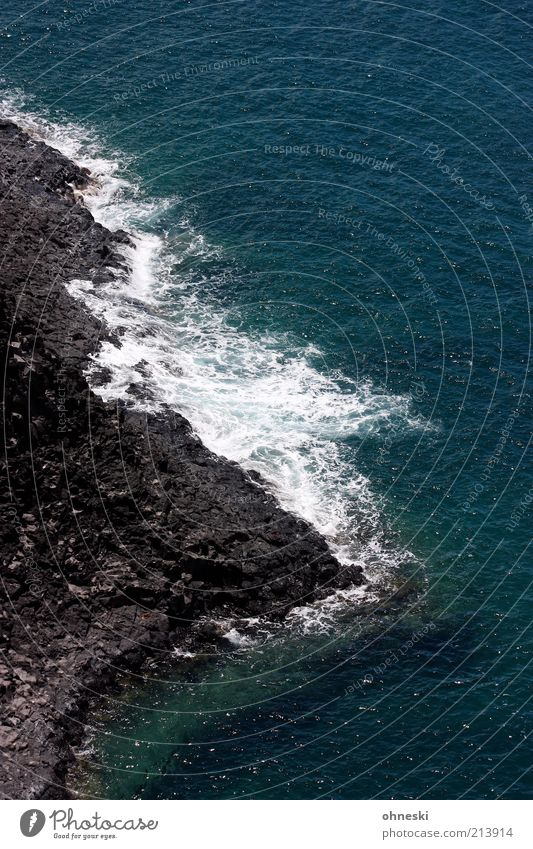 Lavaküste Landschaft Urelemente Erde Wasser Wellen Küste Meer Pazifik Insel Kauai blau schwarz Brandung Farbfoto Kontrast Vogelperspektive Gischt Menschenleer