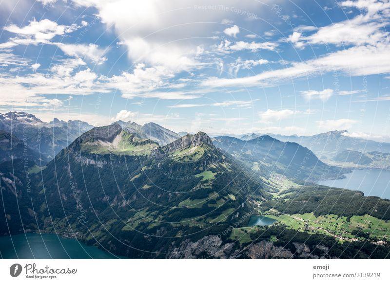 Aussicht vom Fronalpstock CH Himmel Natur Ferien & Urlaub & Reisen blau Sommer grün Landschaft Berge u. Gebirge Umwelt natürlich Tourismus See Freizeit & Hobby