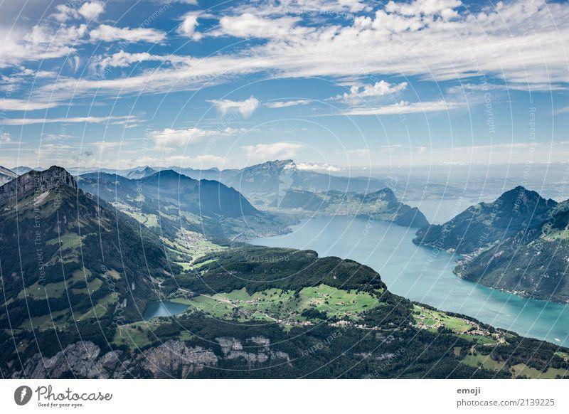 Aussicht vom Fronalpstock CH Umwelt Natur Landschaft Sommer Schönes Wetter Alpen Berge u. Gebirge See natürlich blau Schweiz wandern Wanderausflug Wandertag