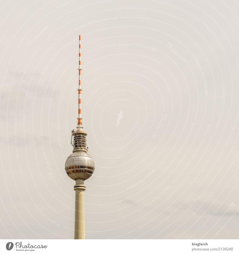 Fernsehturm Berlin weiß rot grau Deutschland braun Europa Sehenswürdigkeit Wahrzeichen Hauptstadt Berliner Fernsehturm Antenne