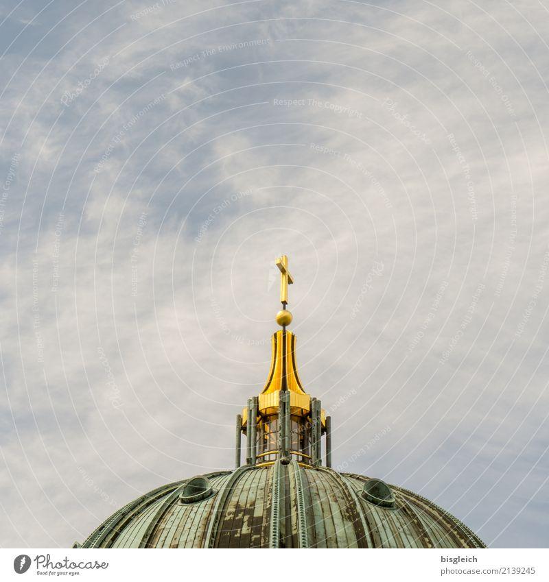 Berliner Dom blau grün Deutschland gold Kirche Europa Sehenswürdigkeit Wahrzeichen Hauptstadt Christliches Kreuz Oberpfarrkirche zu Berlin