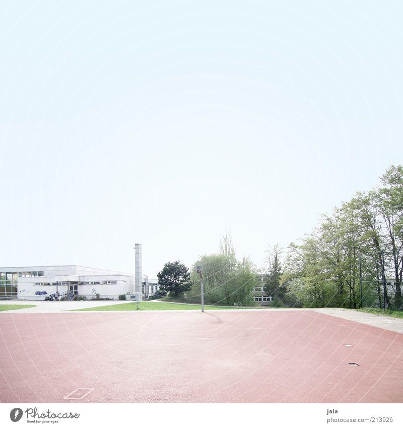 Platzverhältnisse Freizeit & Hobby Sportstätten Sportplatz Basketballplatz Himmel Pflanze Baum Bauwerk Gebäude Architektur Schulgebäude hell Sauberkeit blau