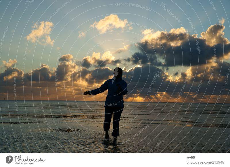 Wattläufer Frau Himmel Meer Freude Wolken Ferne Freiheit Horizont elegant laufen nass ästhetisch Wattenmeer Gefühle Kapuzenjacke Wattwandern