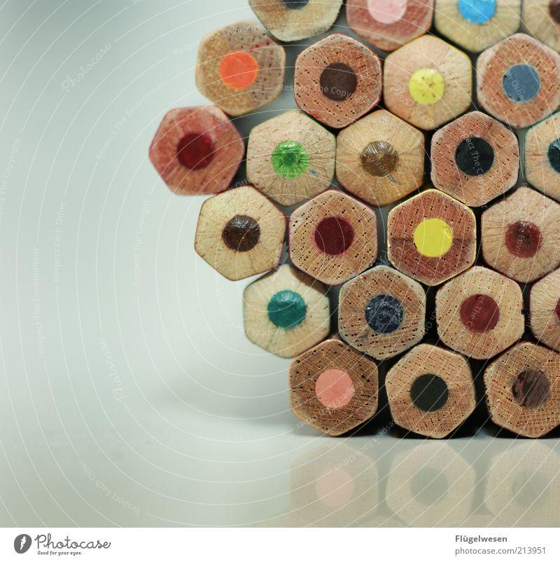 Lehrlinge Schreibwaren Schreibstift zeichnen Farbstift malen Kunst mehrfarbig Holz Farbfoto Innenaufnahme Reflexion & Spiegelung Muster
