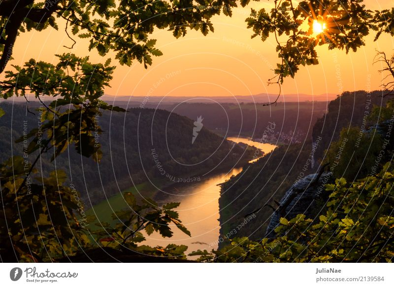 Sonnenuntergang über der Elbe im Elbsandsteingebirge Berge u. Gebirge Sächsische Schweiz reise Reisefotografie Sachsen Deutschland rathen gold goldene stunde