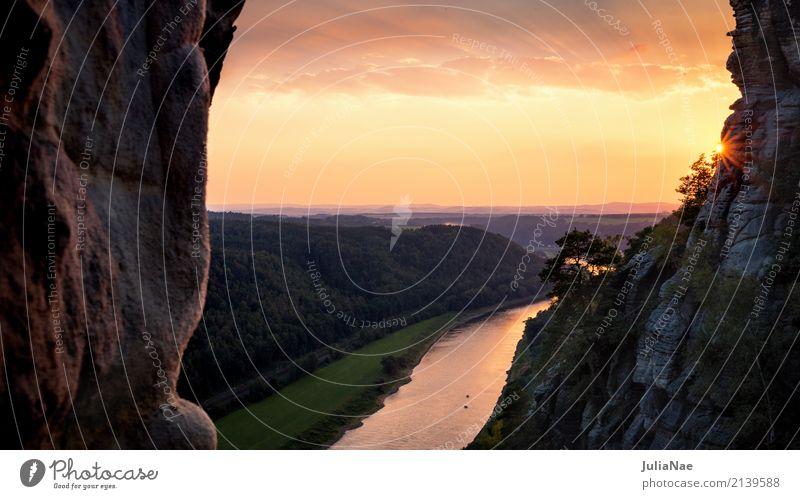 Sonnenuntergang über der Elbe Elbsandsteingebirge Berge u. Gebirge Sächsische Schweiz Ferien & Urlaub & Reisen Reisefotografie Sachsen Deutschland rathen gold