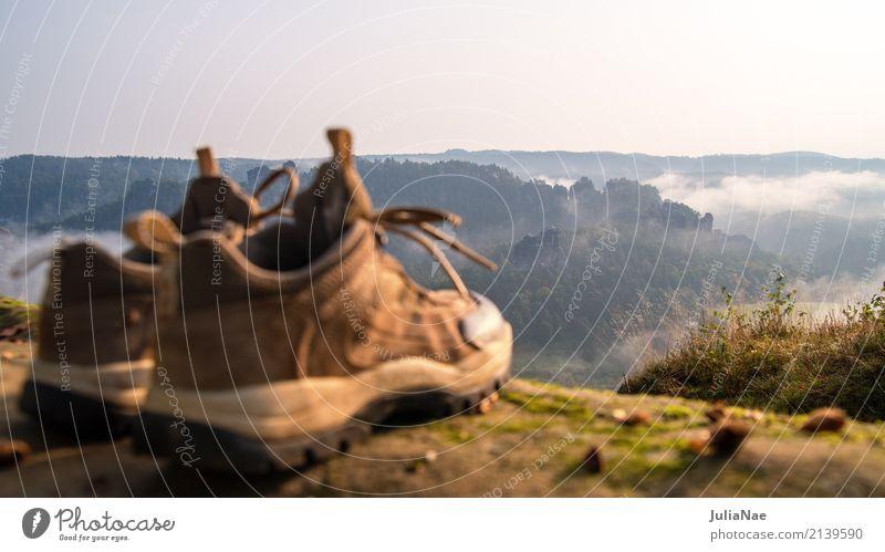 Wanderschuhe mit Aussicht Natur Ferien & Urlaub & Reisen Baum Landschaft Erholung Ferne Wald Berge u. Gebirge Reisefotografie Herbst Tourismus Felsen gehen