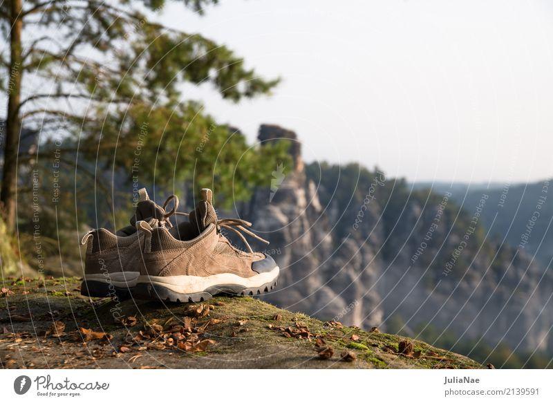 Wanderschuhe mit Aussicht ausblick Baum Berge u. Gebirge Bergsteigen Elbsandsteingebirge Erholung Felsen gehen Gipfel Herbst Landschaft Nationalpark Natur