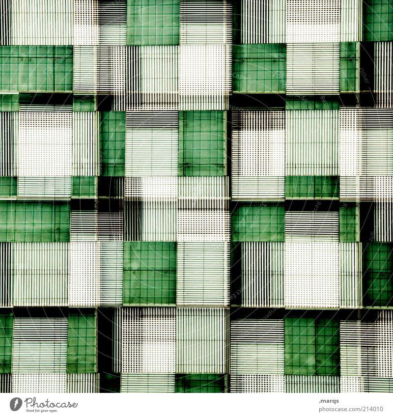 Greenish Lifestyle Stil Design Bauwerk Fassade Linie außergewöhnlich Coolness eckig trendy modern neu verrückt grün schwarz weiß verstört chaotisch skurril