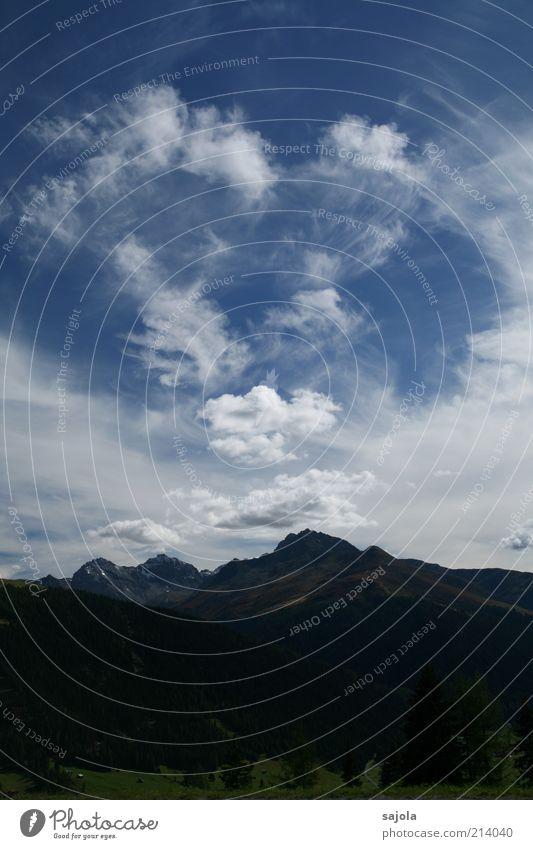 wolkensprache Natur Himmel Baum grün blau Pflanze Sommer Ferien & Urlaub & Reisen Wolken Berge u. Gebirge Landschaft Umwelt Europa Aussicht Schweiz Alpen