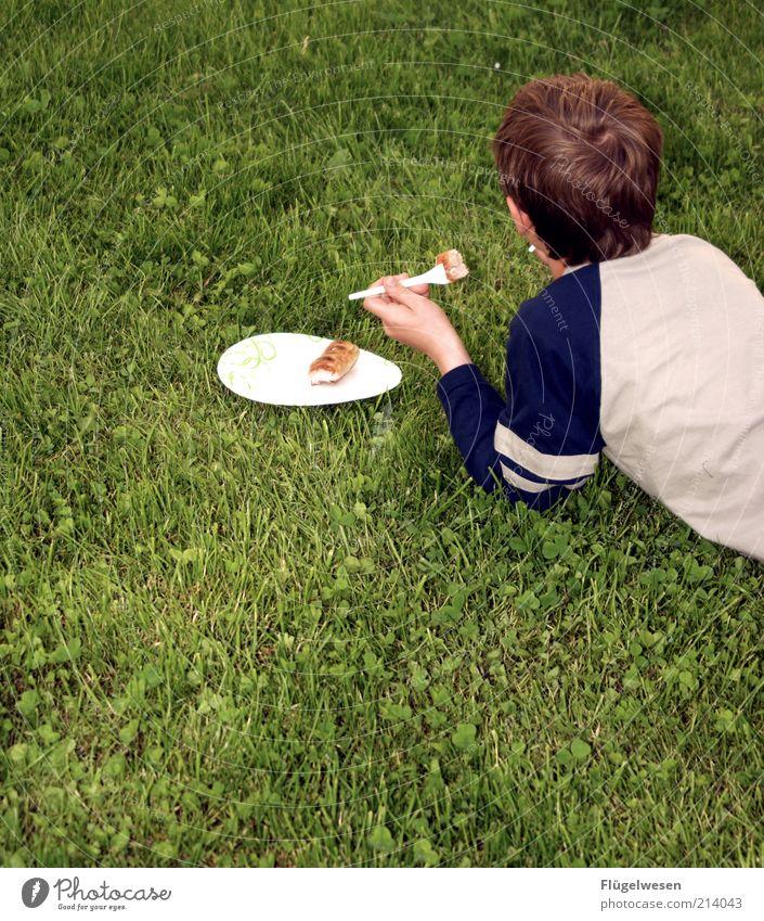 Die letzte Wurst Kind Jugendliche Sommer Ernährung Wiese Gras Essen Lebensmittel Geschirr Kunststoff Mahlzeit genießen Teller Fleisch Picknick Abendessen