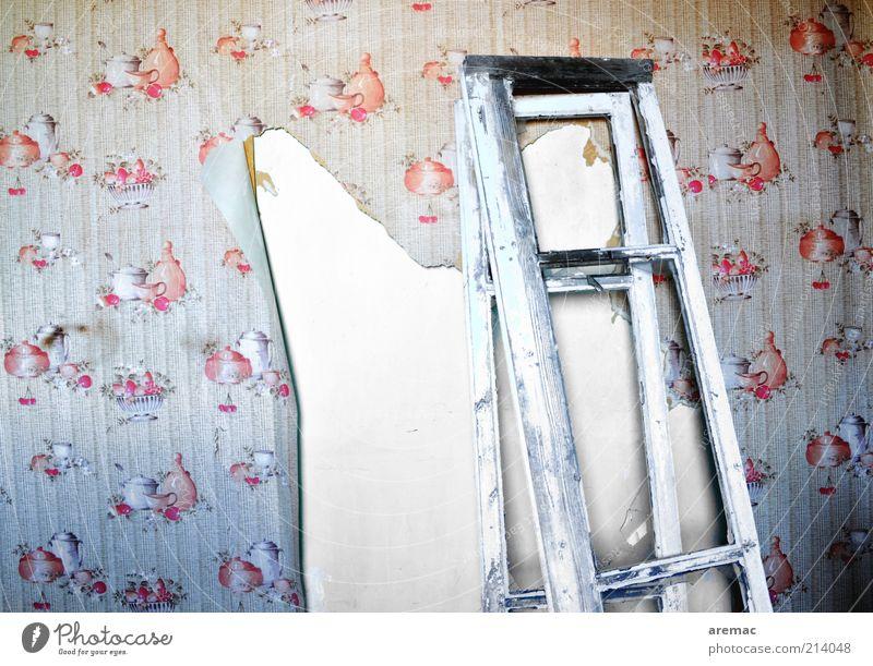 Renovierungsbedürftig Haus Renovieren Küche Handwerk Gebäude Mauer Wand Fenster alt grau rot Vergänglichkeit Zerstörung Tapete Tapetenmuster Farbfoto