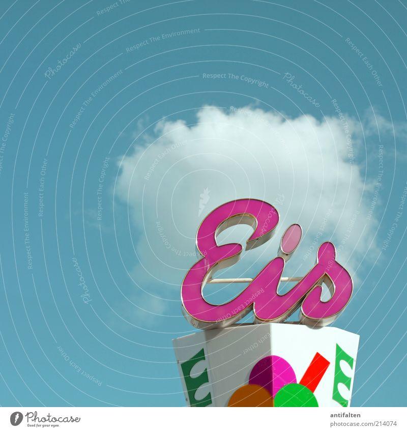 Eis mit Sahne Himmel Natur blau Freude Sommer Wolken Ernährung Luft rosa Schilder & Markierungen Ausflug frisch Fröhlichkeit Speiseeis Schriftzeichen Zeichen