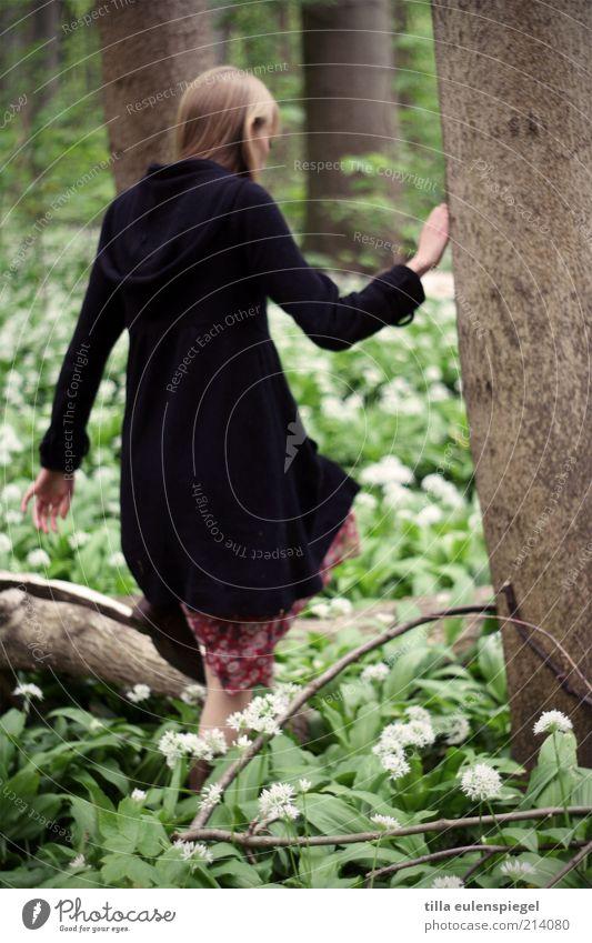 gretel Ausflug feminin Junge Frau Jugendliche Erwachsene 1 Mensch Umwelt Natur Frühling Pflanze Baum Blatt Blüte Wald Kleid Mantel blond laufen kalt natürlich