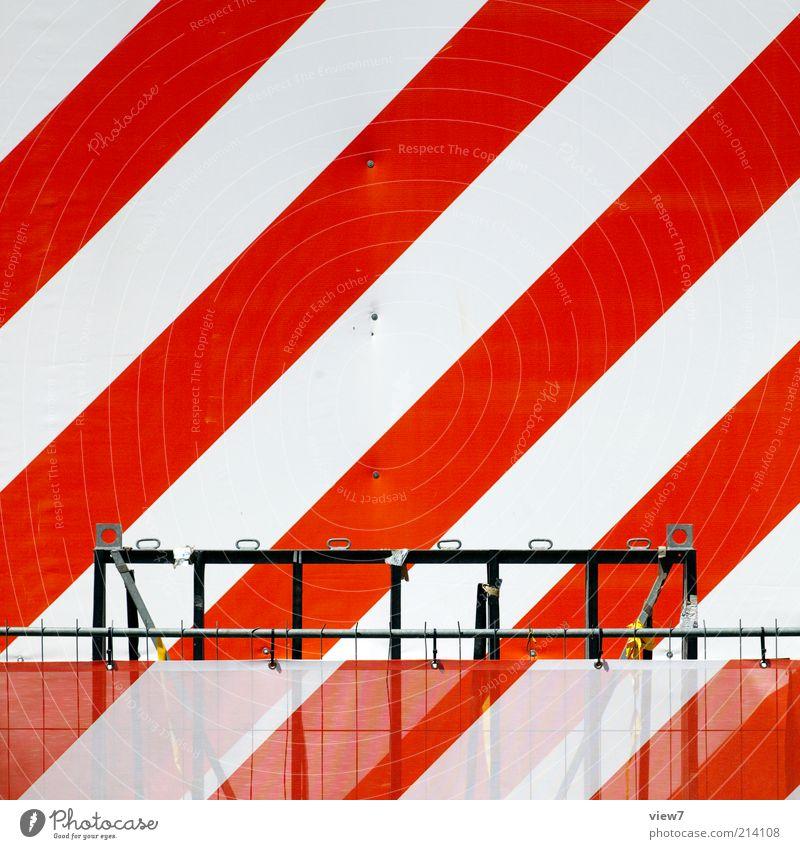 achtung weiß rot Linie Design Schilder & Markierungen frisch modern neu authentisch einfach Baustelle Streifen Zeichen Hinweisschild Kreativität diagonal