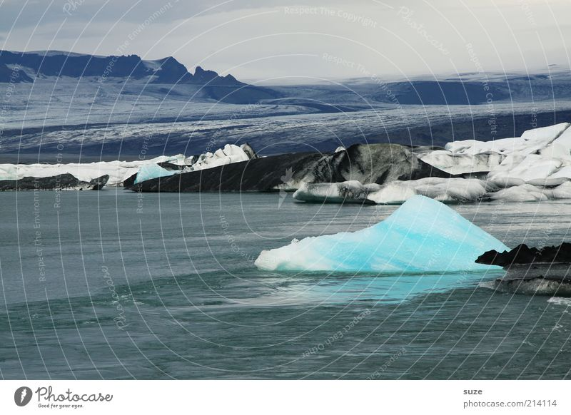Gletschereis Himmel Natur blau Ferien & Urlaub & Reisen Wasser Einsamkeit Landschaft Umwelt Ferne Berge u. Gebirge kalt See Erde Horizont Stimmung Eis