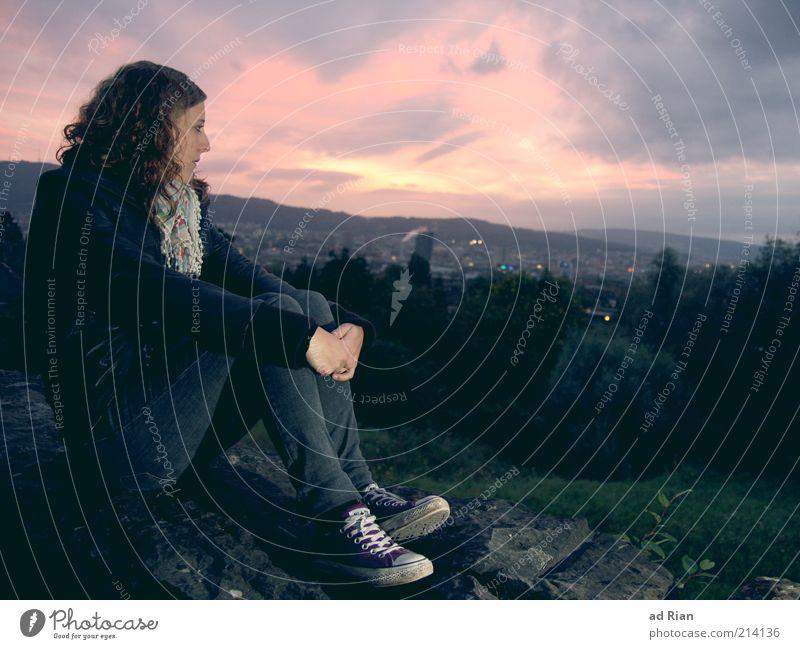 sleepless in Zürich Mensch Frau Jugendliche ruhig Erwachsene Erholung Ferne feminin Traurigkeit Denken Junge Frau träumen Horizont Park Zufriedenheit