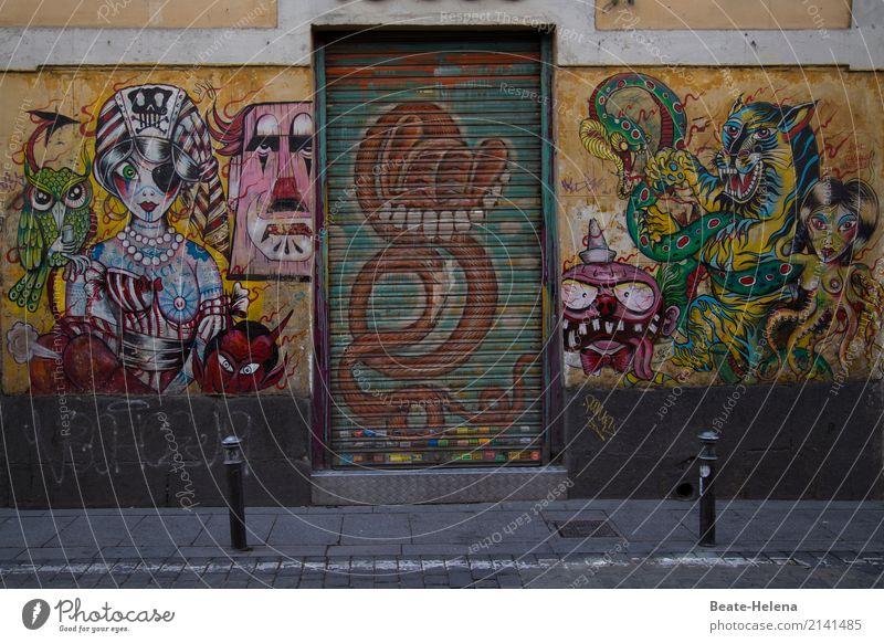 Freizeitspaß   Freie Malerei Stil exotisch Freude Freizeit & Hobby Graffiti Gemälde Haus Künstler Subkultur Madrid Mauer Wand Fassade Sehenswürdigkeit Straße
