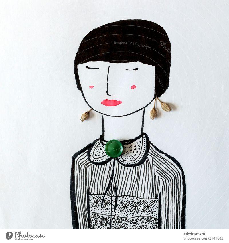 Miss Elegant Freizeit & Hobby Basteln feminin Junge Frau Jugendliche 1 Mensch Pflanze Accessoire Schmuck schwarzhaarig kurzhaarig Papier Dekoration & Verzierung