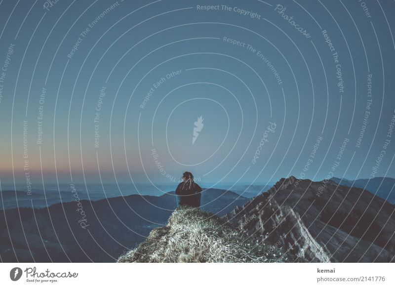 Abendstimmung am Berg genießen Lifestyle harmonisch Wohlgefühl Zufriedenheit Sinnesorgane Erholung ruhig Meditation Freizeit & Hobby Ferien & Urlaub & Reisen