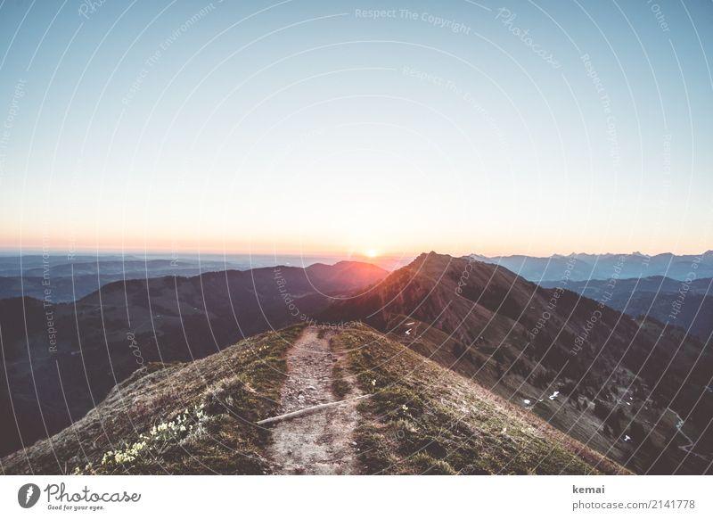 Morgensonne am Berg harmonisch Wohlgefühl Sinnesorgane Erholung ruhig Freizeit & Hobby Ferien & Urlaub & Reisen Ausflug Abenteuer Ferne Freiheit Sommer